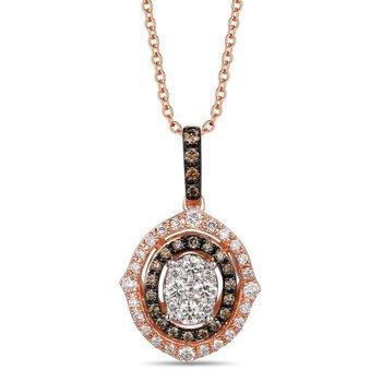 "14 K Two Tone Gold Nude & Chocolate Diamond Pendant w/ 0.55 ctw, 18"" Chain"