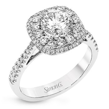18KW Diamond Engagement Semi Mount Ring w/ 0.59 ctw