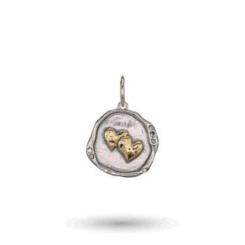 Brass & Sterling Silver Loved Charm w/ Swarovski Crystals