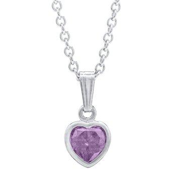 Sterling Silver June Birthstone CZ Heart Pendant