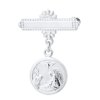 Sterling Silver Bar Pin with Guardian Angel