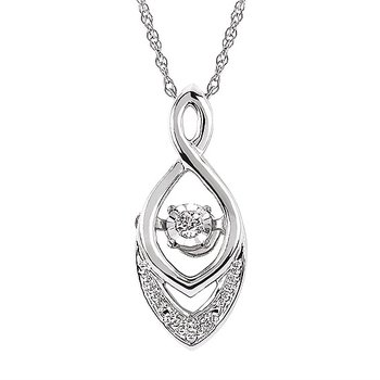 """Sterling Silver Shimmering Diamond Pendant w/ 0.03 ctw, 18"""" Chain"""