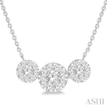 "14K ""LoveBright"" Three Stone Diamond Pendant w/ 1.00 ctw"