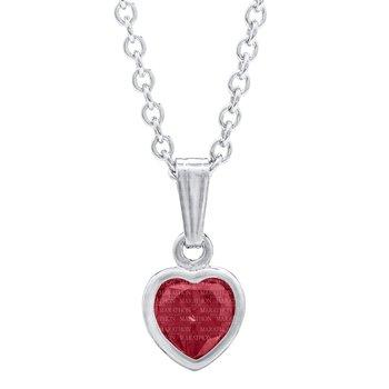 Sterling Silver Heart July CZ Birthstone Pendant