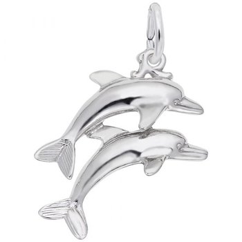 Sterling Silver Double Dolphin charm