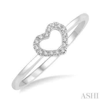 10KW Diamond Heart Ring w/ 0.05 ctw, Size 7