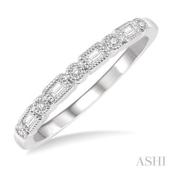 14KW Cutwork Baguette and Round Cut Diamond Stackable Band w/ 0.10 ctw, Size 7.25