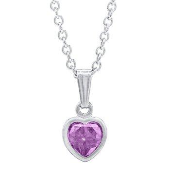 "Sterling Silver February Birthstone CZ Heart Pendant w/ Chain 13"""