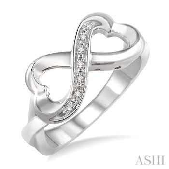 Sterling Silver Diamond Infinity Heart Ring w/ 0.03 ctw, Size 7