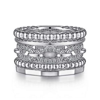 Sterling Silver White Sapphire Wide Statement Band