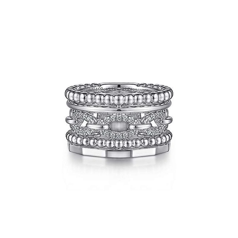 Gabriel & Co. Sterling Silver White Sapphire Wide Statement Band