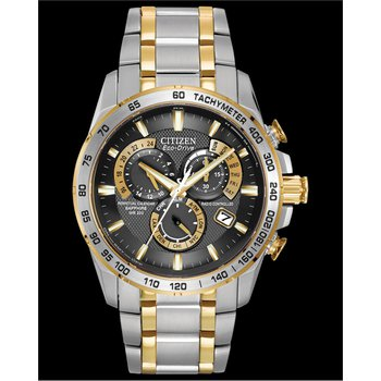 Stainless Steel Two Tone Eco-Drive Perpetual Chronograph Watch