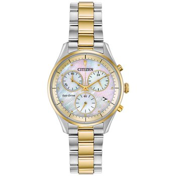Stainless Steel Two-Tone Eco-Drive Chronograph Watch w/ Mother of Pearl Face