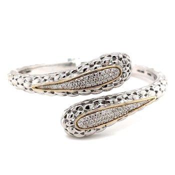 Italian Sterling Silver Diamond Bracelet w/ 14KY Accents & 0.65 ctw