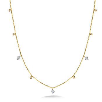 """14K Two-Tone Various Shapes Diamond Necklace w/ 0.16 ctw, 18"""" Chain"""