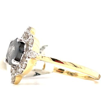 14KY Salt & Pepper Ring w/ 0.91 ctw Natural Center Diamond & 1.13 ctw Dia.