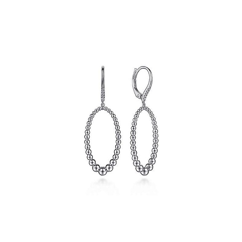 Gabriel & Co. Sterling Silver White Sapphire and Beaded Drop Earrings