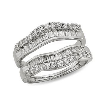 14KW Diamond Baguette Ring Guard w/ 1.0 ctw, Size 7
