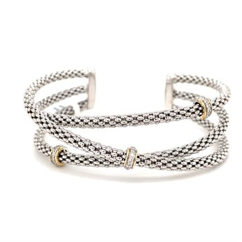 Sterling Silver Diamond Bangle Bracelet with 14KY Accents & 0.20 ctw