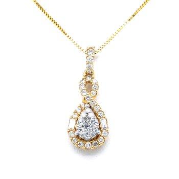 "14KY ""Lovebright"" Diamond Pendant w/ 0.45 ctw, 18"" Box Chain"