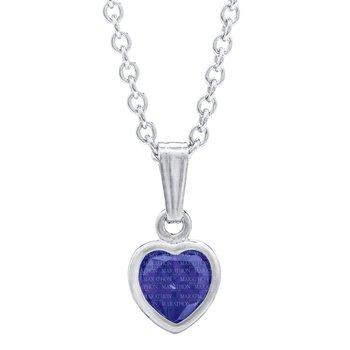 Sterling Silver September CZ Heart Pendant