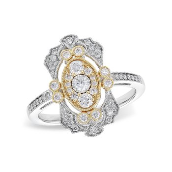14K Two-Tone Diamond Fashion Ring w/ 0.50 ctw, Size 7