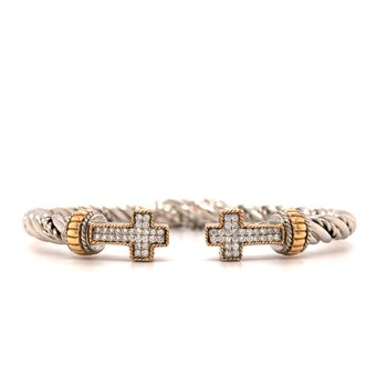 Italian Sterling Silver Diamond Cross Hinge Bracelet w/ 14KY Accents & 0.30 ctw