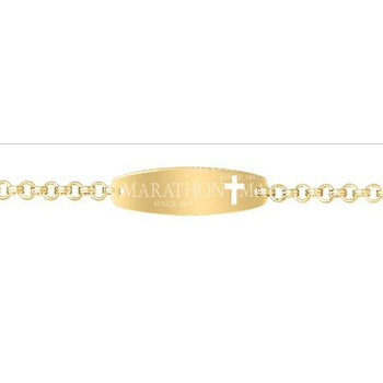 14KY Gold Filled ID Bracelet with Cross Cutout