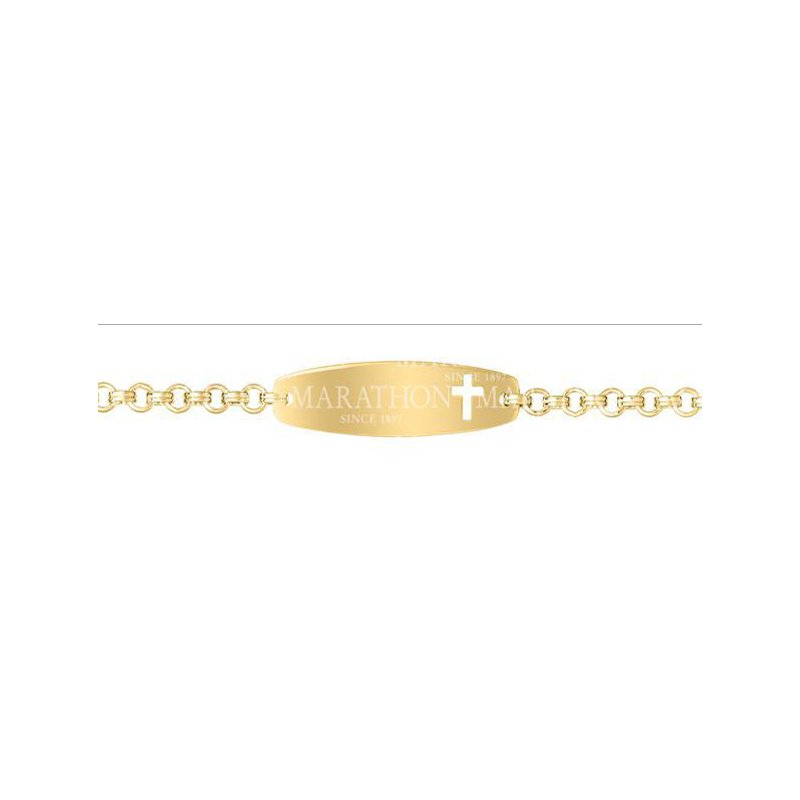 Green Brothers Collection 14KY Gold Filled ID Bracelet with Cross Cutout