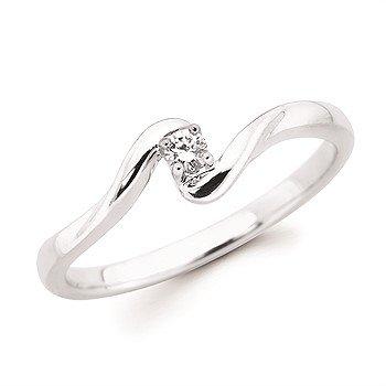 Sterling Silver Diamond Split Shank Promise Ring  w/ 0.05 ctw, Size 7