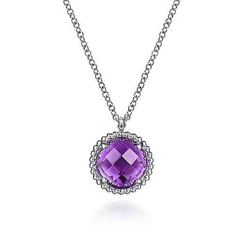 Sterling Silver Amethyst Center and Bujukan Pendant Necklace