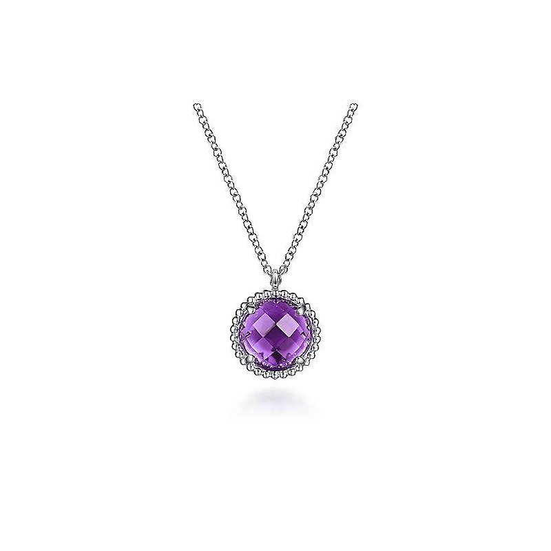 Gabriel & Co. Sterling Silver Amethyst Center and Bujukan Pendant Necklace