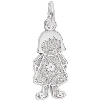 Sterling Silver Girl w/Dress & Flower