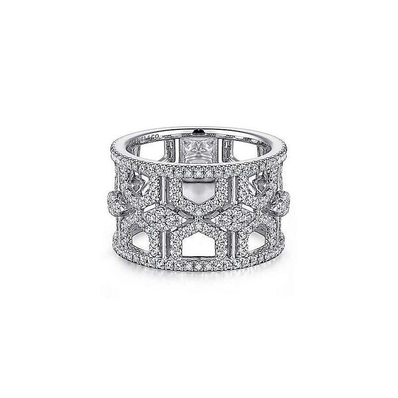 Gabriel & Co. 14KW Diamond Fashion Ring w/ 1.11 ctw Size 6.5