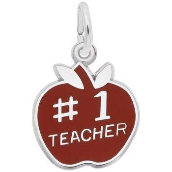 Sterling Silver #1 Teacher Apple Charm