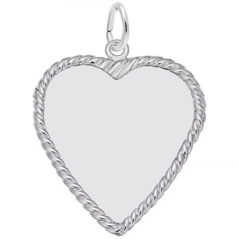Sterling Silver Heart Disc Charm