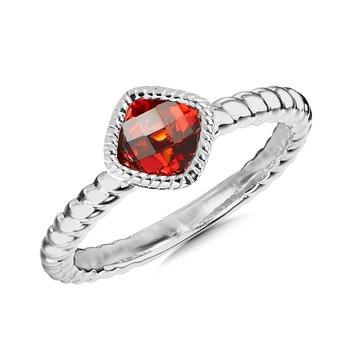 Sterling Silver Garnet Ring, Size 7