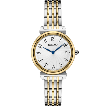 Stainless Steel Two-Tone Analog Quartz Watch w/ Blue Hour and Minute Hands