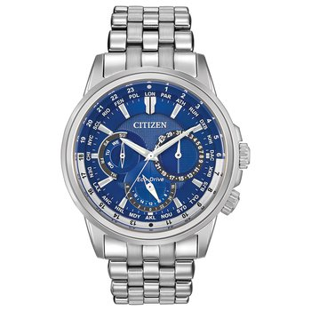 Stainless Steel Eco-Drive Watch w/ Blue Face