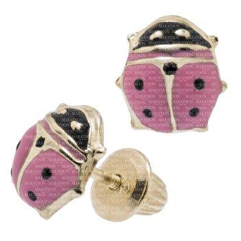 14KY Pink Ladybug Safety Earrings