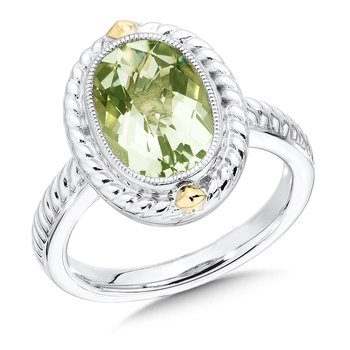 Sterling Silver & 18KY Green Amethyst Ring, Size 7