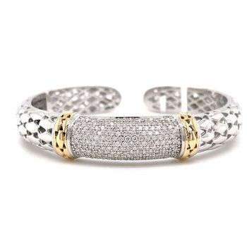 PiYaro Italian Silver Bangle Bracelet w/ 14 KY Accents and 1.23 ctw Dia.