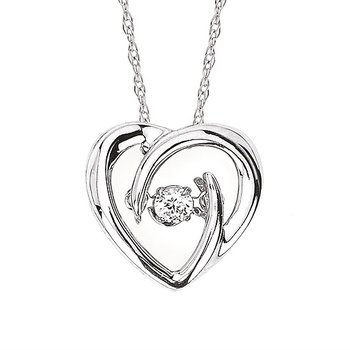 """Sterling Silver Shimmering Diamond Pendant w/ 0.05 ctw, 18"""" Chain"""