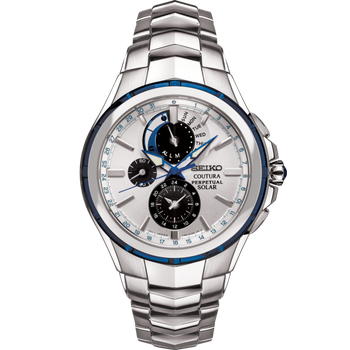 Stainless Steel Chronograph Solar Watch w/ Perpetual Calendar, Alarm Function, Lumibright Hands and Markers, Sapphire Crystal