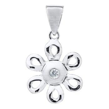 Sterling Silver Diamond Daisy Pendant w/ Chain