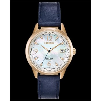 Stainless Steel Rose Tone Eco-Drive Watch w/ Mother of Pearl Face and Blue Leather Straps