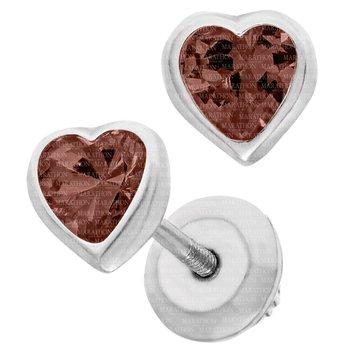 Sterling Silver Heart January CZ Birthstone Earrings