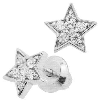 Sterling Silver Star Earrings w/ CZ Diamonds