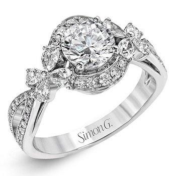 18KW Halo Diamond Semi-Mount Engagement Ring w/ 0.88 ctw, Size 6.5