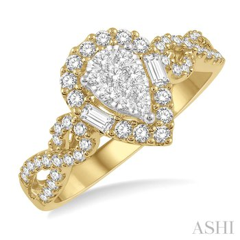 14KY Pear Shape Bow Shank Lovebright Diamond Cluster Ring w/ 0.55 ctw Size 7